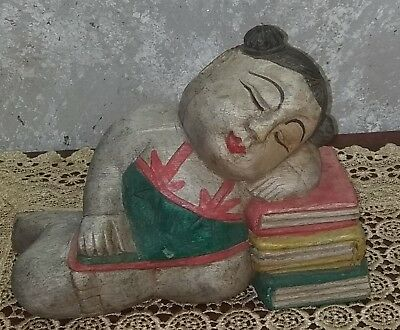 Nice antique Chinese carved wooden sleeping statue on books + wooden base