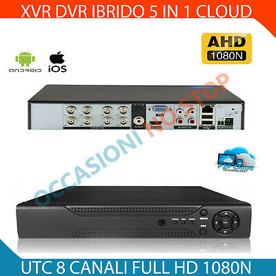 XVR DVR 5in1 AHD CVI TVI CVBS IP 8 CANALI UTC FULL HD 1080N P2P CLOUD HDMI WIFI