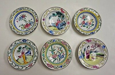 """Vintage Set of 6 Small Chinese Canton Enamel Painted Trays or Bowls 3"""""""