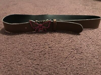 Girls Brown Belt Size Large GUC Butterfly Buckle