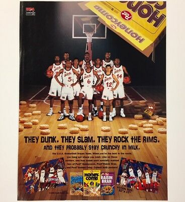 1996 HONEYCOMB CEREAL Team USA Basketball Ad Advertisement w/ SHAQUILLE O'NEAL
