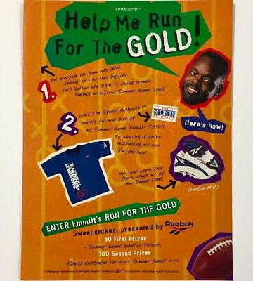 Original 1996 REEBOK Sweepstakes Ad w/ EMMITT SMITH Full-Page Ad Advertisement