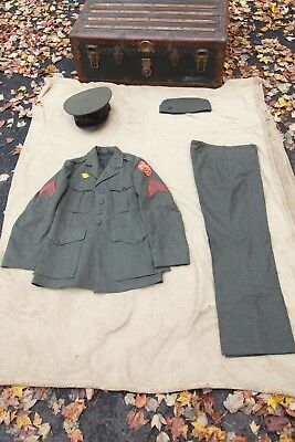 ORIGINAL WWII 1942 Vintage US MARINE CORPS FULL UNIFORM Grey/Wool/Brown/Leather