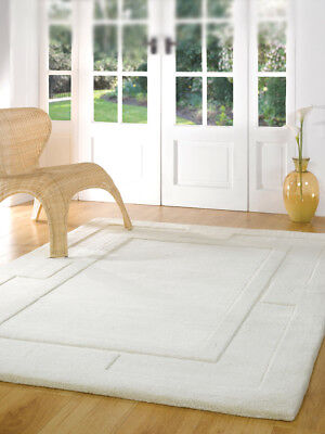 Plain IVORY Modern Bordered Design Thick Dense Pile 100% Wool Rugs Round Square