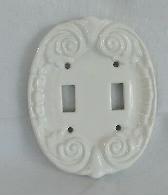 White Porcelain Double Light Switch Wallplate Wall Plate Cover New NOS