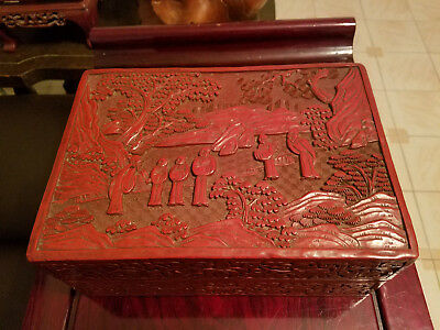 Very Beautiful and Large Chinese Hand Carved Cinnabar Box.