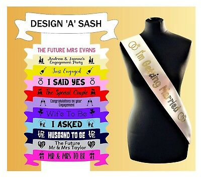 Personalised Engagement Sash Future Mr and Mrs getting Married Just Engaged