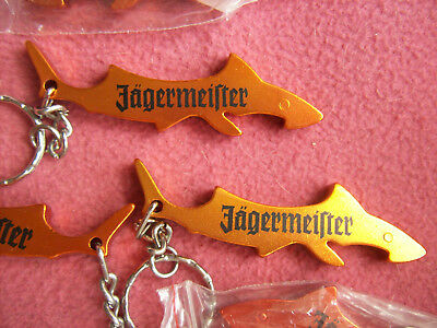 Lot 10 Jagermeister Orange Metal Shark Key Chain Bottle Opener New Nip