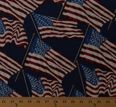 Fleece American Flag Stars and Stripes Patriotic Fabric Print by Yard A617.21