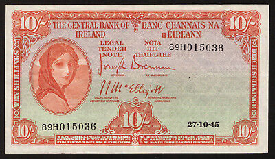Central Bank of Ireland Ten Shillings. 1945, Nice Very Fine