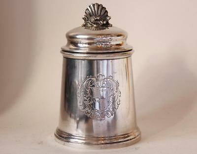 Antique/Vintage Solid Silver Tea Caddy Scalloped Finial 350 gr Italy c1940-1950s