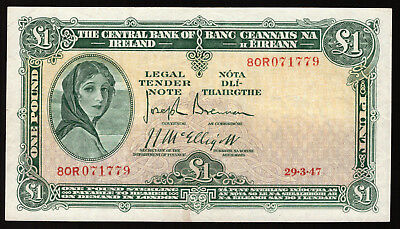Central Bank of Ireland One Pound 1947. Very Fine