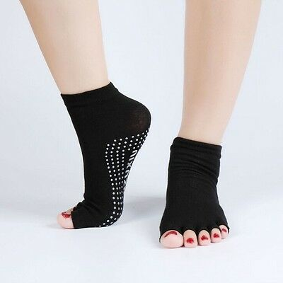 Non Slip Yoga Pilates Gymnastics Dance Exercise 5 Toe Socks with Grip.UK Seller