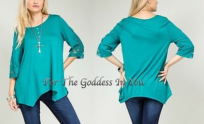 T262 Teal Green Asymmetrical Hem Henley Tunic Top Womens Plus Size ~ 1X 14/16