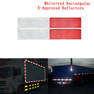 Rectangular E-Approved Reflectors 1 red+ 1 white for Trailer Caravan Gateposts