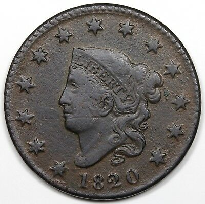 1820 Coronet Head Large Cent, Small Date, VF detail