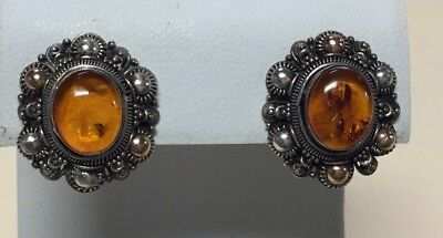 Gorgeous Antique Estate Sterling Silver 925 Baltic Amber Clip Earrings TP13