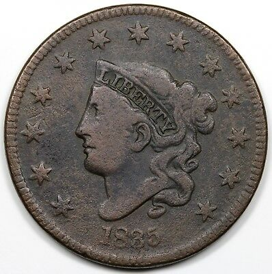 1835 Coronet Head Large Cent, Head of '34, Large 8, VG-F detail
