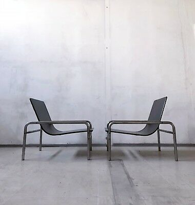 1of2 VINTAGE 70s 80s BAUHAUS STYLE MODERNIST TUBULAR CHROME VINYL LOUNGE CHAIR