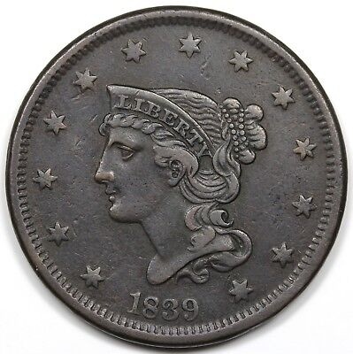 1839 Braided Hair Large Cent, Petite Head, VF-XF