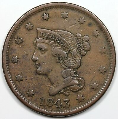 1843 Braided Hair Large Cent, Petite Head, Small Letters, VF+