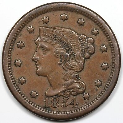 1854 Braided Hair Large Cent, XF