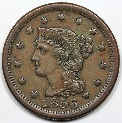 1856 Braided Hair Large Cent, Upright 5, XF+
