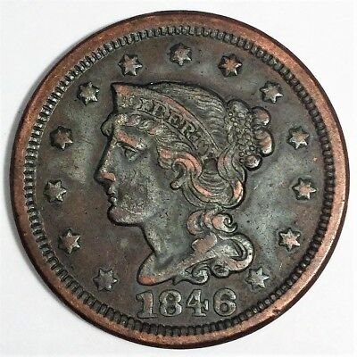 1846 Braided Hair Large Cent Beautiful High Grade Coin