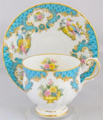 Rosina Tea Cup & Saucer Ho Ho Bird Blueish Aqua Color (Bird Of Paradise)