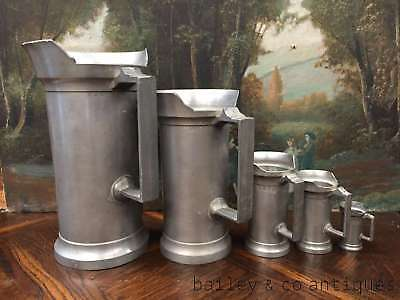Antique French Measuring Jugs (5) Pitchers Tankards Pewter Stamped Rare -