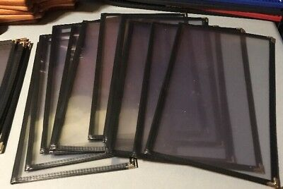 10pcs 2 Page 4 Views Transparent Restaurant BLACK Menu Covers