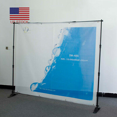 8'x8' Trade Show Step and Repeat Backdrop Telescopic Pop Up Adjustable Stand EM