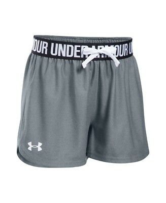 (Youth Small, Steel/Black) - Under Armour Girls' Play Up Shorts. Unbranded