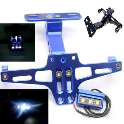 Motorcycle Adjustable CNC License Number Plate Frame Holder Bracket + LED Light