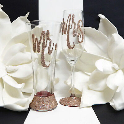 Mr and Mrs Rose Gold Toasting Flute and Beer Glass Set For The Bride and Groom