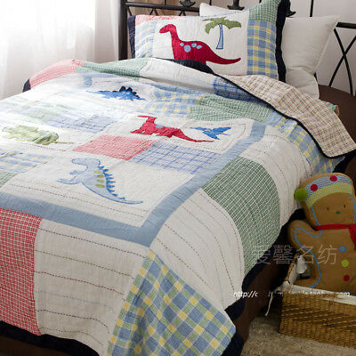 Single Country Kid Boy Dinosaur  Patchwork Cotton Quilt Coverlet Bedspread Set