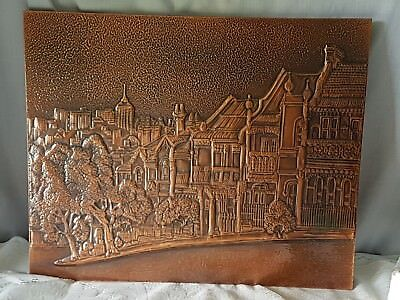 Vintage Solid Copper Wall Art Of Glenmore Street, Paddington, Syd.  H38 X W46 Cm