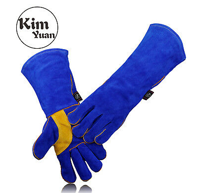KIM YUAN Heat/Fire Resistant Oven/Fireplace/BBQ Cowhide Welding Gloves16inchs