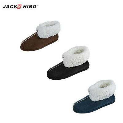 JACKSHIBO Mens Winter Indoor Cozy Slippers Boots Ankle Plush Home Warm Shoes