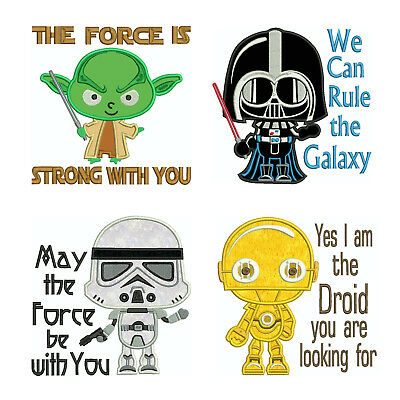 STARWARS 1 * Machine Applique Embroidery Patterns ** 4 Designs, 4 sizes