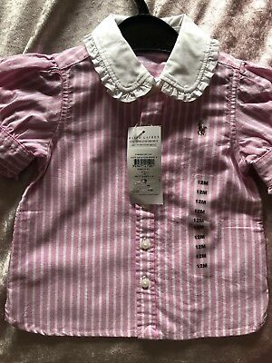 Authentic Ralph Lauren Girls Short Sleeved Shirt Size 12 Months