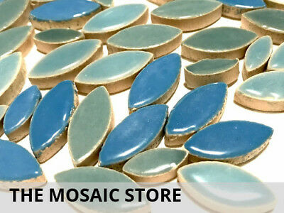 Ocean Blue Mixed Ceramic Petals  - Mosaic Tiles Supplies Art Craft