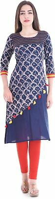 Women Embellished Pattern Blue Color Round Neck Kurta