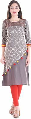 Women Embellished Pattern (Grey) Color 3/4 Sleeve Party Wear Kurta