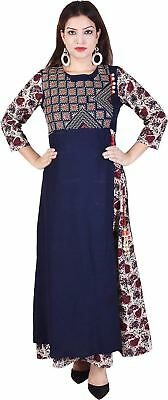 Embroidered Pattern Blue Color 3/4 Sleeve Gown Kurta For Women