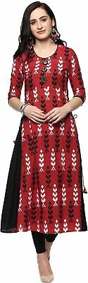 Women Red Black Color Abstract Pattern A-line Kurta