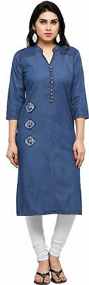 Women Blue Solid Color Round Neck Straight Kurta