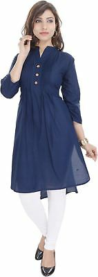 Women Solid Pattern 3/4 Sleeve Blue Color Straight Kurta