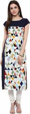 Women Round Neck Geometric Print Knee Length Kurta