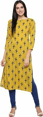 Women Printed Yellow Color 3/4 Sleeve Party Wear Kurta